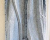 Mixed Blues Long Denim Skirt , 80s