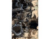 Black watercolor art print, abstract landscape, book page art, Colonization: Wild Marshes