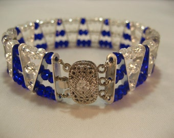 3-Strand Blue and Clear Crystal Bracelet