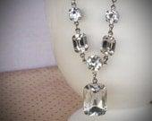 Rhinestone Bridal Necklace, Wedding Jewelry, Crystal, Clear, Diamond by rewelliott on Etsy