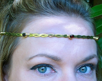 Swarovski Crystals in Oval or Circle on Brass Circlet Headpiece