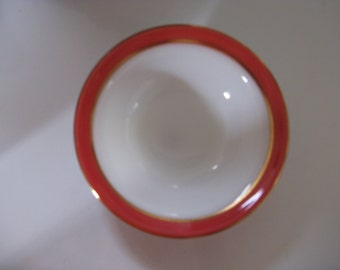 pyrex pink flamingo gold rimmed milk glass 5 3/8 inch bowl mid century dining