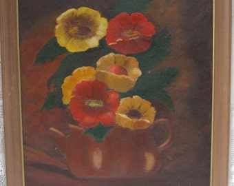 """original oil painting fall colors red yellow poppies signed oil painting  solid wood frame 17"""" by 21 """" traditional cottage country"""