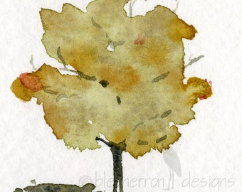 seasonal art- A Tree's Clothes- set of four 4x4inch watercolor prints