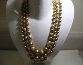 Vintage Three Strand Necklace with Gold Tone Beads