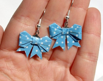 Origami bow earrings, made with blue polka dots origami washi paper