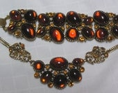 Vintage Heirloom Quality Glass Amber Cabachons and rhinestones Necklace and Bracelet demi parure