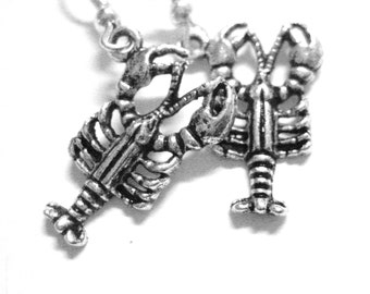 Nautical Earrings - Silver Lobster Jewelry - Sterling Silver Lobster Earrings - Clip On Option 128