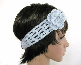 Blue Headband Crocheted with Flower - Crochet Head Band with Flower - Lacy Crochet Headband - Lacy Blue Head Band - Teenager Headband