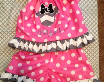 Disney Inspried Minnie Mouse Shorts set
