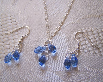 Jewelry Set Swarovski Briolette Necklace and Earrings Bridesmaid Prom