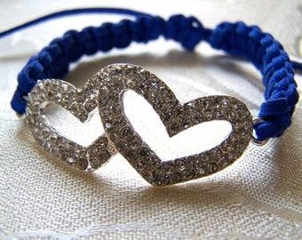Bracelet Macrame Crystal Pave Double Heart Cobalt Blue Suede Sale