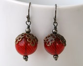 Red Blown Glass Ball Dangle Earrings with Brass Floral Bead Caps