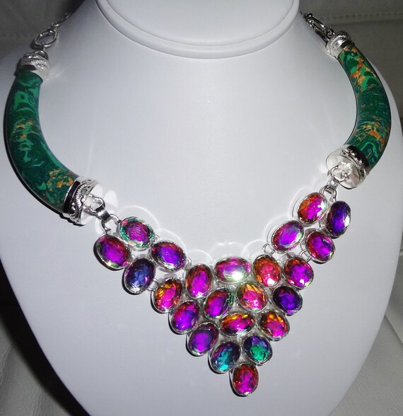 """HUGE Copper Turquoise, Rainbow Topaz Crystals, solid Sterling Silver Necklace 140.8 Grams 24"""" adjustable"""