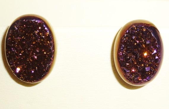 23 cts Natural Agate Plum Dust Titanium Druzy, Drusy Geode,14kt White Gold Post Pierced Earrings