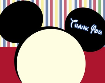 Mickey Mouse Clubhouse Thank you cards. Mickey Mouse note cards, mickey mouse thank you notes, Mickey mouse birthday notes, mickey clubhouse