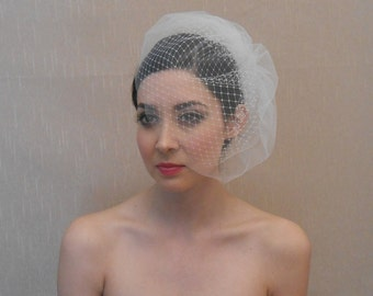 Bridal Double Layer Tulle and Russina Birdcage Veil in Ivory or White - Ready to ship in 1 week