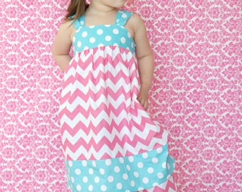 Girls Reverse Knot Dress Chevron and Polka Dot CHOOSE COLORS Mod Squad Collection Toddler Infant Girls