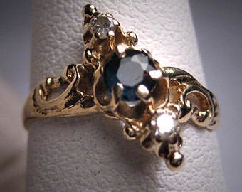 Antique Sapphire Diamond Ring Wedding Vintage Victorian