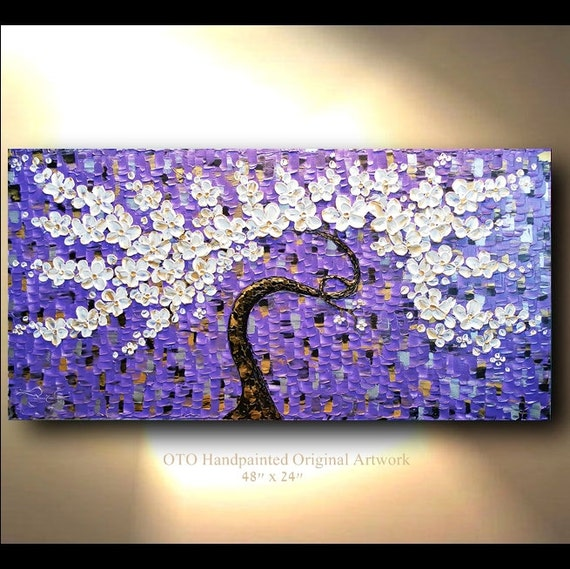 Purple Flower Oil Painting Abstract Wall Art Picture: ORIGINAL 24x48 Purple Gold White Flower Abstract Painting Art