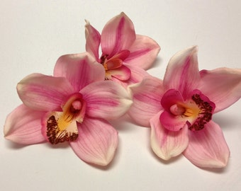 Silk Flowers - THREE JUMBO Pink Orchids - 4 PLUS Inches - Artificial Orchids