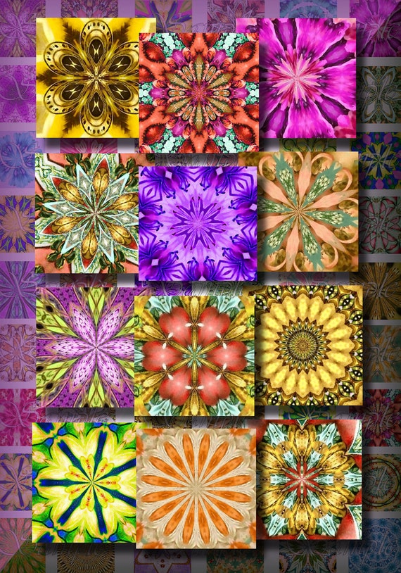Spring Kaleida Inchies Digital Collage Sheet 1 Inch Easter Scrabble Tiles ACEO ATC Background Cards Tags Jewelry Pendants Grunge 126