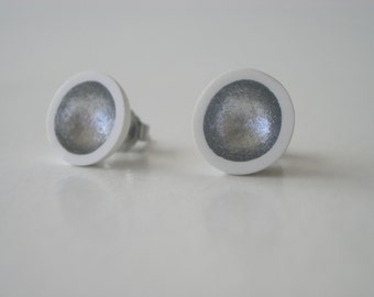 White polymer clay and silver enamel paint stud earrings