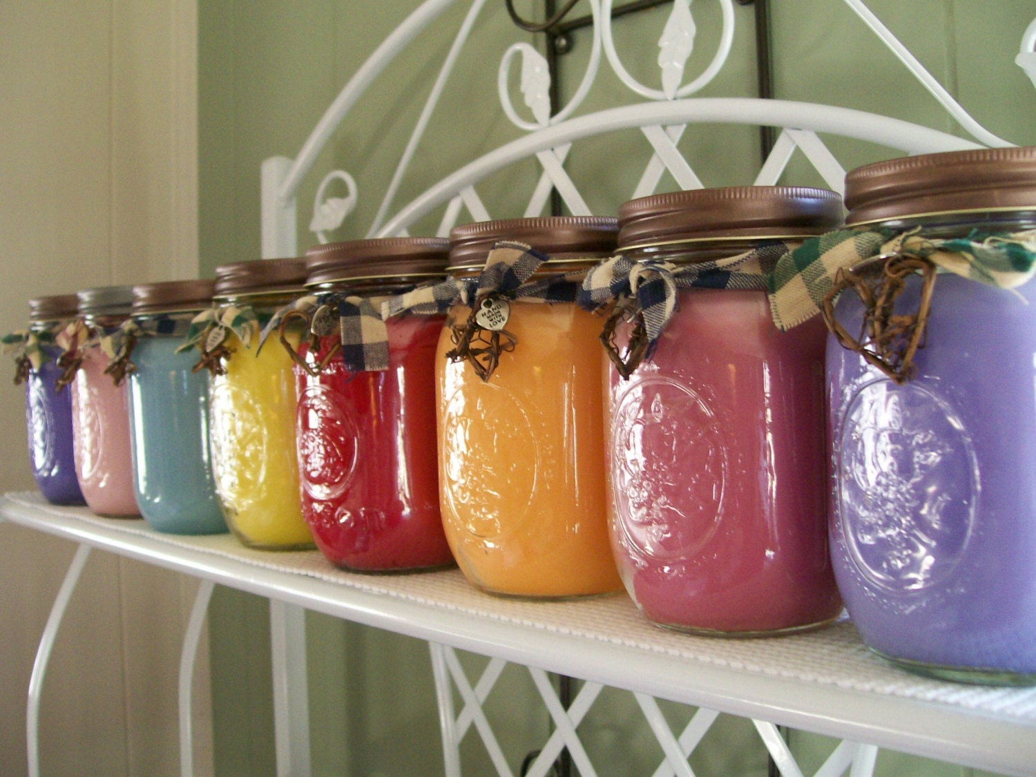 Love spell scented mason jar candle by freshcountrycandles for Diy candle crafts