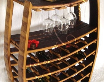 "WINE RACK - ""Chablis"" - Large Wine Barrel Rack with glass holders - 100% recycled"