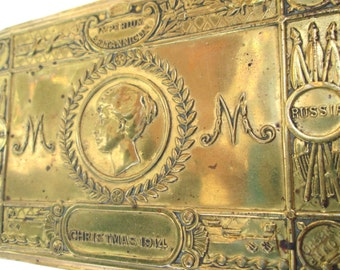 Antique Christmas 1914 WWI Brass Tin Box - World War 1 Imperium Brittanicum British Ornate Embossed Metal Gift Box Historical Princess Mary