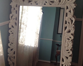 Huge Painted Mirror Rococo Hollywood Regency French Distressed Chippy White Paint