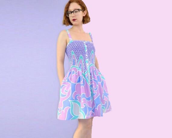 1970s Sun Dress Printed Purple Medium