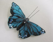blue teal BUTTERFLY HAIR CLIP black spots