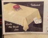 Vintage 50s Vinyl Tablecloth Unused In Package. 70 Round