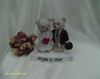 Bride and groom bears wedding cake topper
