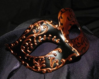 Black and Copper Venetian Mask