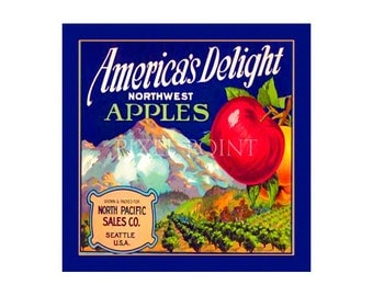 Small Journal - America's Delight Apples  - Fruit Crate Art Print Cover