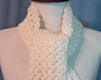Ivory Long Scarf - Hand Crocheted - Soft Acrylic Yarn - Handmade