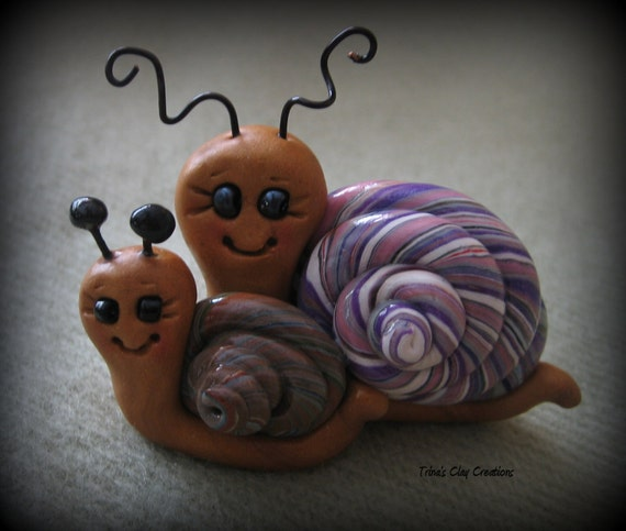 Polymer Clay Happy Snails
