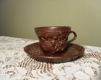 Majolica Teacup and Saucer Set