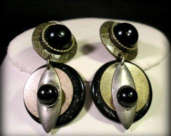 Black and Metal Space Age Earrings
