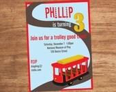 Trolley Streetcar Custom Party Invitation