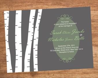 Wedding Birch Tree Custom Printable Invitation