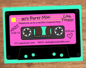 80's Party Mix Tape Custom Invitation