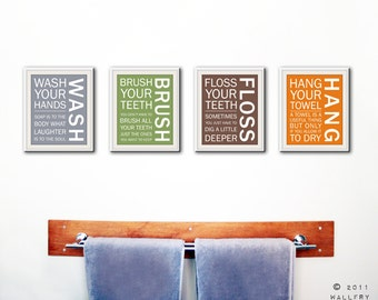 Bathroom art prints. Bathroom Rules. Kids bathroom wall quotes. Wash Brush Floss Flush. Typography. SET of ANY 4 prints by WallFry