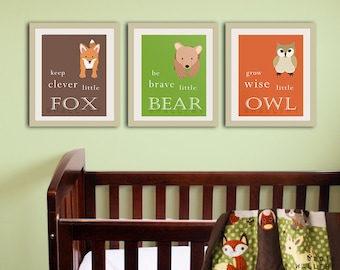 Baby nursery art prints. Inspiration typography prints. Woodland nursery decor. Owl Nursery wall art. SET OF ANY 3 prints artwork by WallFry