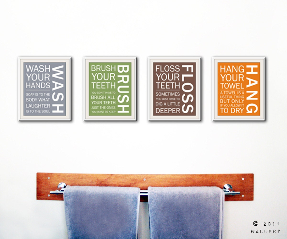 Bathroom wall decor quotes - Kids Bathroom Wall Quotes Wash Brush Floss Flush Zoom