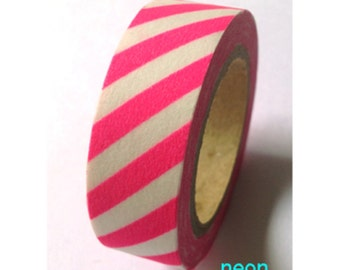 Neon pink stripes Washi Masking Tape Roll 11yards Adhesive Stickers WT376