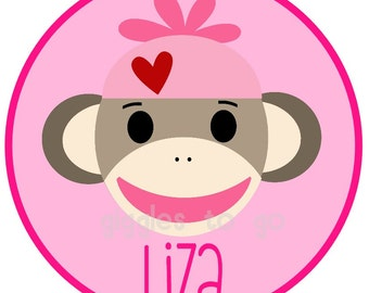 Valentine's Pink Sock Monkey Iron on
