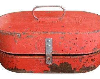 ANTHES Orange Color Vintage Industrial Metal Box